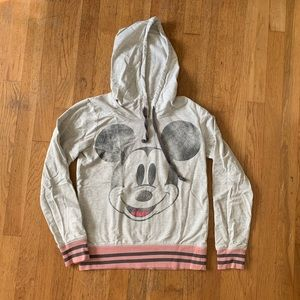 Disney Parks Hoodie Gray Pink Mickey Mouse Icon